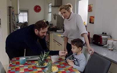 Paul Green, played by Tim Downie (Photo: Gary Sinyor), with his sister Naomi, played by Lucy Montgomery, and her son Joshie, played by Daniel Sinyor