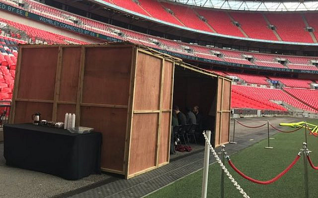 Succah pitch-side at Wembley Stadium