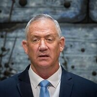 Benny Gantz, leader of the Blue and White party, speaks during a press statement after a letter of appointment for entrusted with forming the next government was handed to Gantz at the President's residence in Jerusalem, Israel, 23 October 2019.  Photo by: JINIPIX