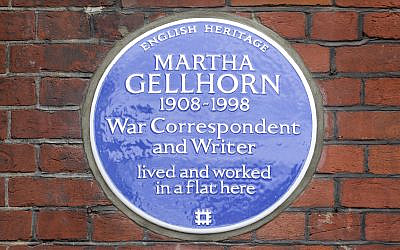 Martha Gellhorn blue plaque, 72 Cadogan Square, London.(English Heritage)