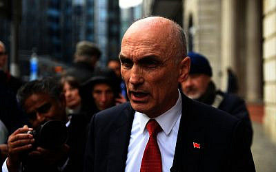 Chris Williamson outside the Birmingham Civil Justice Centre last month (Photo credit: Joe Giddens/PA Wire - Jewish News)