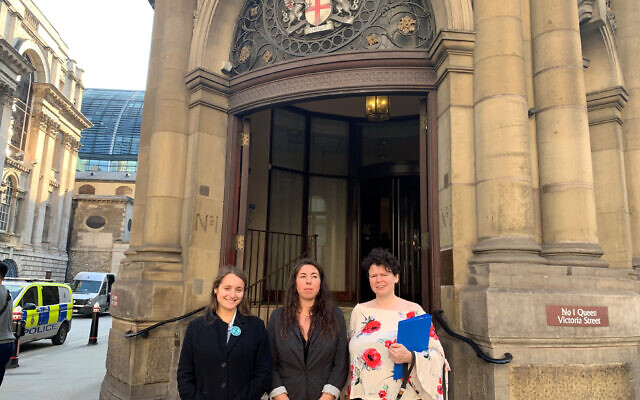Shulamit Morris-Evans, Amy Pritchard and Angela Ditchfield standing outside London Magistrates' Court (Photo credit: Jess Glass/PA Wire)