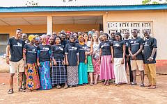 Anita Lowenstein Dent (centre) with volunteers she works with in North Ghana.
