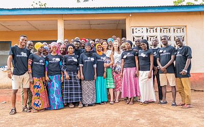 Anita LowensteinDent (centre) with volunteers she works with in North Ghana.