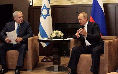 Benjamin Netanyahu with Russia's president Putin.   Photo credit: @netanyahu on Twitter
