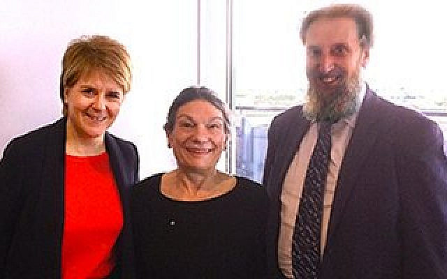 Scotland's First Minister Nicola Sturgeon (left) with SCoJeC chair Micheline Brannan and SCoJeC director Ephraim Borowski