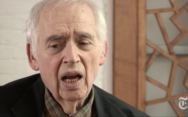 Harold Bloom (Screenshot from New York Times video interview https://www.youtube.com/watch?v=cHGu11GL9qw)