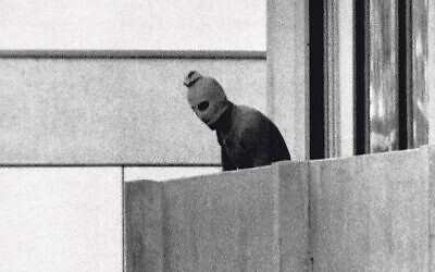 September 1972, an armed Palestinian on a balcony, after terrorists took Israeli team members hostage