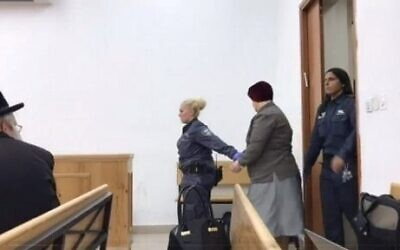 Malka Leifer entering a courtroom (October 2019)