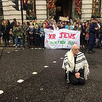 Rabbi Jeffrey Newman at Extinction Rebellion protest, London 2019 (Photo by Extinction Rebellion)