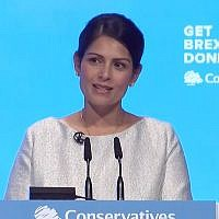 Priti Patel addressing the Conservative conference in Manchester (Credit: YouTube)