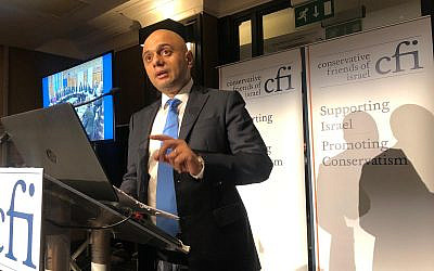 Chancellor Sajid Javid at Conservative Friends of Israel conference