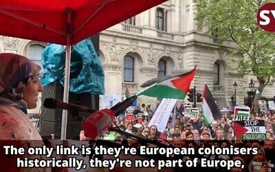 Salma Yaqoob speaking at an anti-Israel rally in London