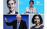 Jacob Rees-Mogg (top left), Priti Patel (top right) and Suella Braverman (bottom right) have all caused controversy with their use of language, but how will Boris Johnson respond to reassure the community? (Credit: Jewish News)