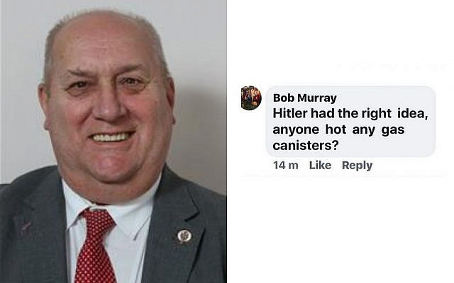 Councillor Bob Murray (Credit: Denbighshire Council), right comment (Credit: Facebook)