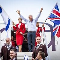 Virgin Atlantic founder Richard Branson touches down at Ben Gurion Airport in Tel Aviv, Israel with CEO Shai Weiss.