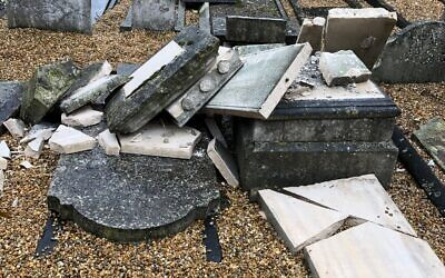 Damaged headstones in Chatham Memorial Synagogue's historic cemetery