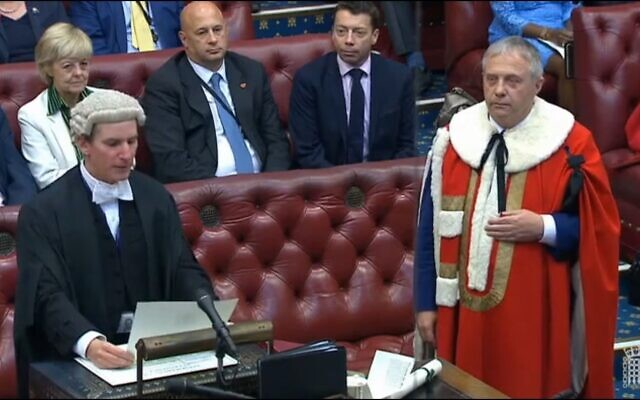 Screenshot from Parliament TV of Lord John Mann being introduced to the House of Lords, swearing an oath of allegiance to the Queen