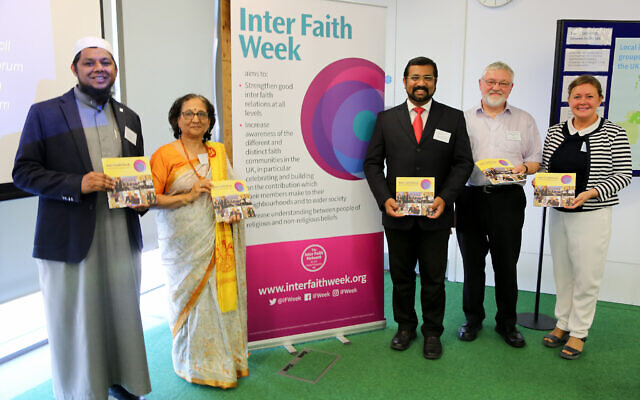 The launch of the 2019 Inter Faith Week programme, with Sheikh Irfan Soni, Ms Trupti Patel, Cllr Tom Aditya, Dr Norman Richardson MBE and Ms Julie Jones.