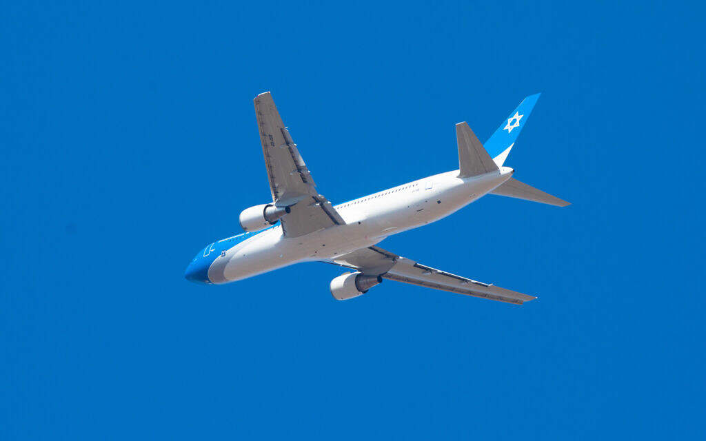 The Prime Minister's plane, a Boeing 767, seen on its first flight test above Tel Aviv, on November 3, 2019. The plane is the Israeli version of Air Force 1, meant to serve the Israeli Prime Minister and the President. Photo by: Nimrod Glikman-JINIPIX