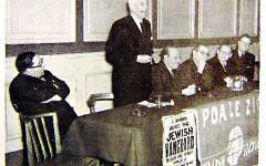Dr Hugh Dalton MP at a Poale Zion meeting (archive photograph)