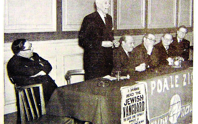 Dr Hugh Dalton MP at a Poale Zion meeting (archive photograph)