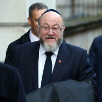 Chief Rabbi Ephraim Mirvis in Downing Street arriving for the Remembrance Sunday service at the Cenotaph memorial in Whitehall (Photo credit: Jonathan Brady/PA Wire)