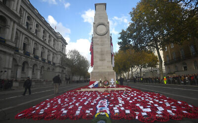 The Cenotaph memorial in Whitehall, central London after the Remembrance Sunday service. Photo credit should read: Victoria Jones/PA Wire