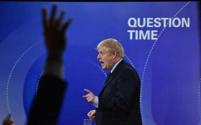 Prime Minister Boris Johnson during the BBC Question Time Leaders' Special at the Octagon in Sheffield. (Photo credit should read: Jeff Overs/PA Wire)