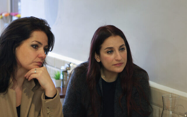 Former Labour MP Luciana Berger (right) and former Tory and Independent Group for Change MP Heidi Allen, speak to the media during a visit to Falafel Feast, in Finchley, North London. (Photo credit: Luciana Guerra/PA Wire)