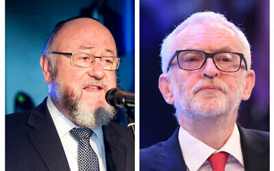 """Chief Rabbi Ephraim Mirvis launched a scathing attack on Jeremy Corbyn, accusing him of being """"complicit in prejudice,"""" adding that Labour """"can no longer claim to be the party of diversity, equality and anti-racism…"""""""