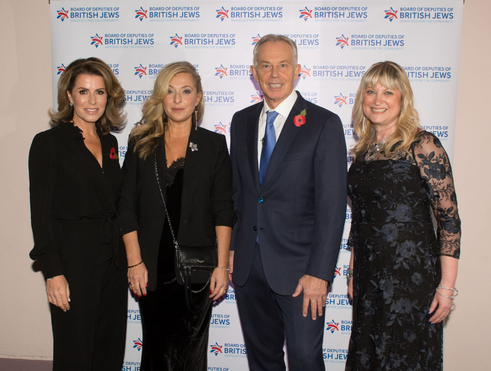 L-R Natasha Kaplinsky Tracy Ann Oberman Tony Blair and Marie van der Zyl
