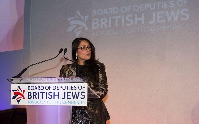 Home Secretary Priti Patel speaking at the Board of Deputies dinner in 2019