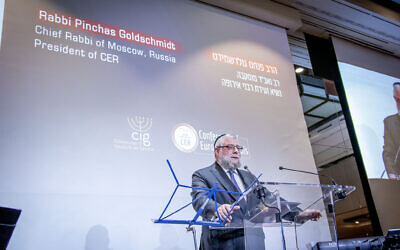 CER president Rabbi Pinchas Goldschmidt speaking at an event in Geneva.  (picture credit: Eli Itkin)
