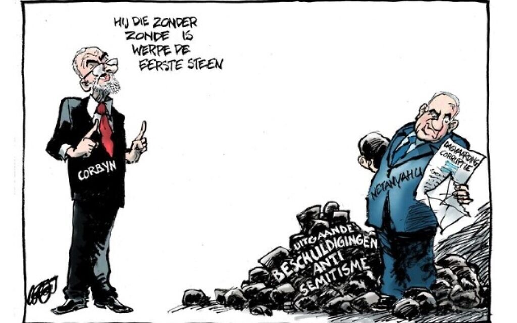 A caricature suggesting Benjamin Netanyahu is behind British Labour's anti-Semitism scandals (De Volkskrant via JTA)