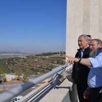 Bibi Netanyahu looking over the West Bank after the US policy change on settlements