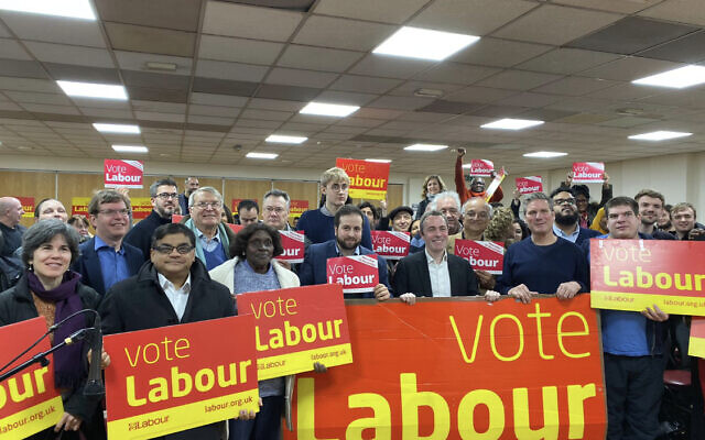 David Pinto-Duschinsky, left, on the campaign trail at the last election with Keir Starmer