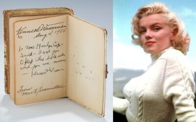 The siddur, once owned by Marilyn Monroe, features two inscriptions on the front cover, including one dating to August 4, 1934 to Kenneth Wasserman from Mrs A Braunstein, and then apparently re-gifted by Wasserman to Mrs. Marilyn Cooper-Smith.
