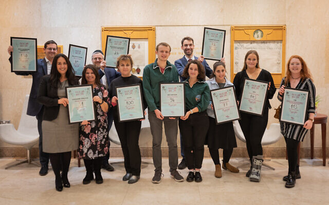 Back row, left to right: Solomon Mozes, Rabbi Sulzbacher, Adam Levine. Front row, left to right: Sharron Shackell, Naomi Amdurer, Carolyn Raven, Daniel Marks, Ella Janner-Klausner, Chana Bernstein, Emma Mendel and Esther Offenbach (Credit:  Jewish Swab Week 2019)
