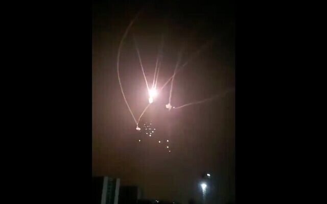 Screenshot from the IDF shows the iron dome missile defence system intercepting a Gaza rocket.