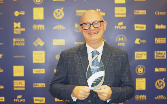 Barry Boffy on behalf of Jayne Lewis, with his award at the No2H8 Awards