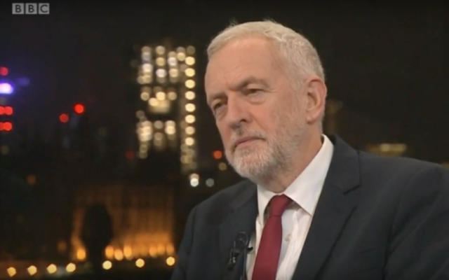 Screenshot from video of Jeremy Corbyn during the Andrew Neil interview.