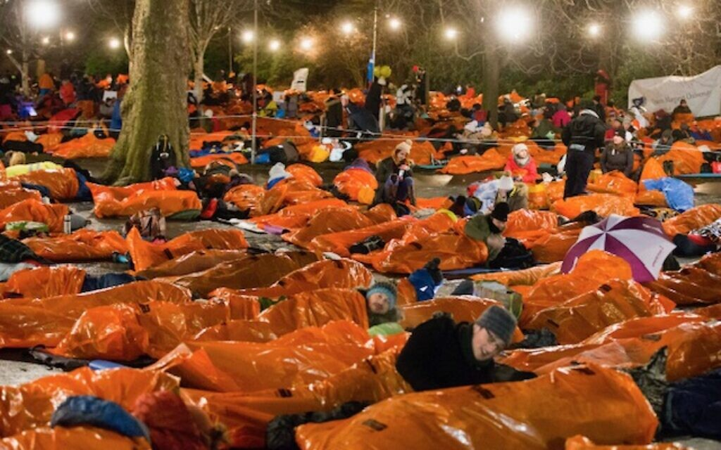 Participants spend the night in an Edinburgh park in 2017 as part of the campaign