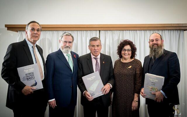 Left to right - Matthew Miller, CEO Koren Publishers, Lord Sacks, Leo & Susan Noe, Rabbi Menachem Steinsaltz, Executive Director Steinsaltz Center (Photo credit Leivi Saltman)