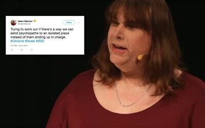 Right, Helen Belcher giving a Ted talk in 2018, inset: tweet sent from her personal account in 2014