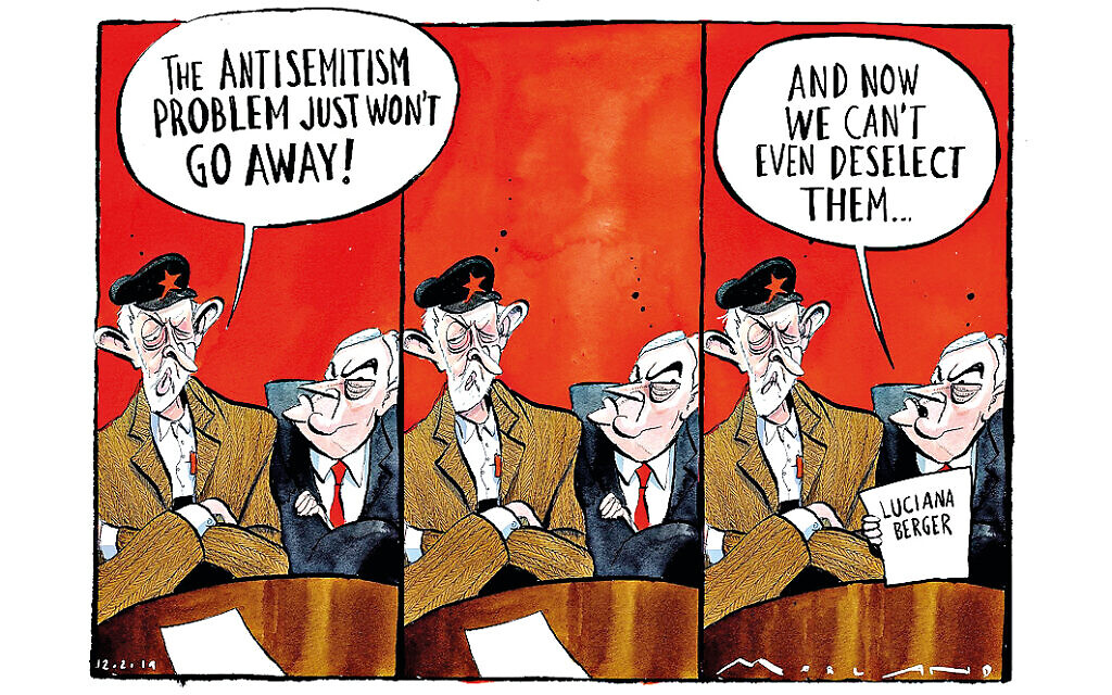 A cartoon by Morten Morland in the Times shows Jeremy Corbyn and John McDonnell regretting the fact that Labour MP Luciana Berger had survived a no-confidence vote in her constituency