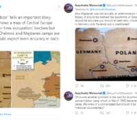 Screenshots from Twitter showing Auschwitz Museum's protestations at the Devil Next Door's use of a wrong map