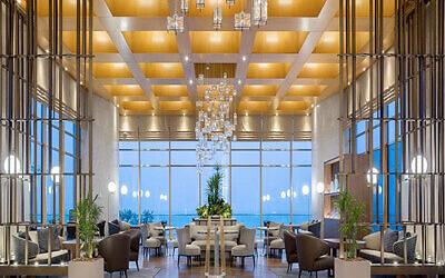 Hilton Tel Aviv's luxurious lobby.