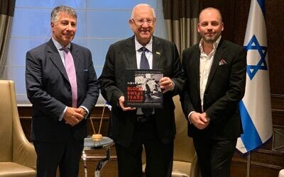 President Rivlin with incoming MDA UK Chair Russell Jacobs (left) and MDA UK Chief Executive Daniel Burger (right) during his flying visit to the UK