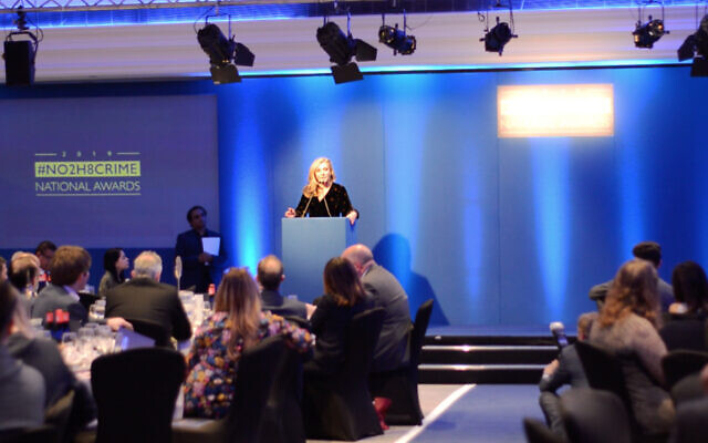 Tracy-Ann Oberman speaking at the No2H8 awards